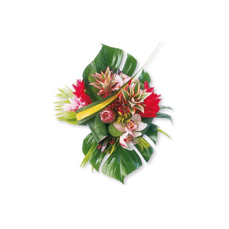 Bouquet ananas et fleurs tropicales fleurs exotiques for Bouquet de fleurs un